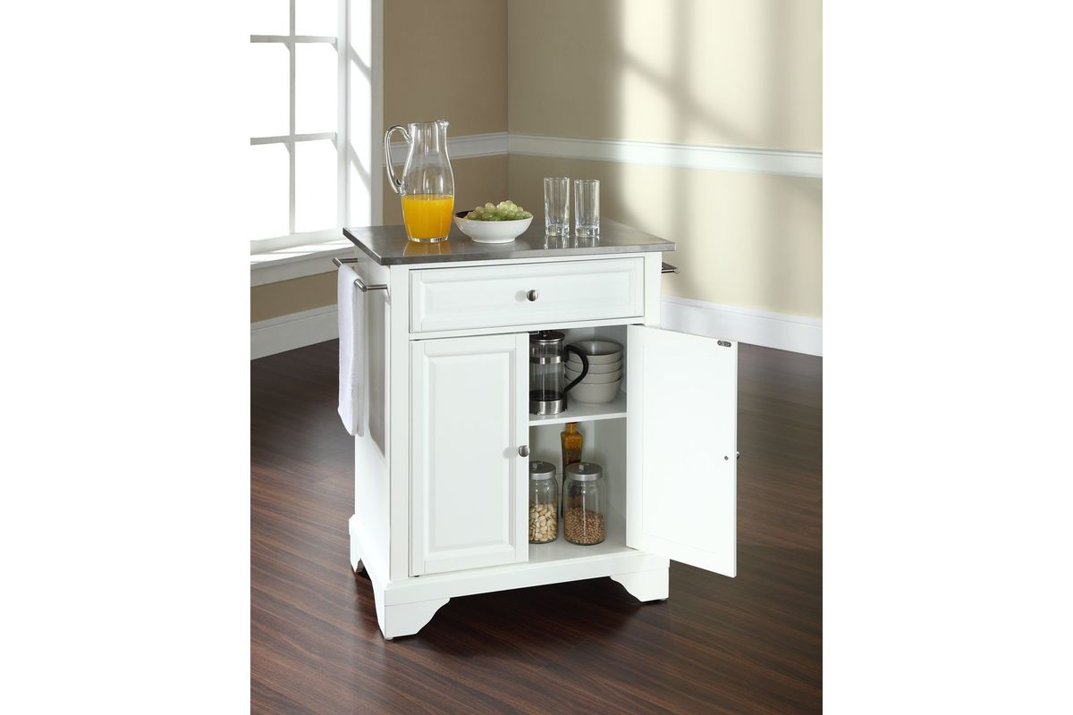 Lafayette Stainless Steel Top Portable Kitchen Island In White Finish By Crosley