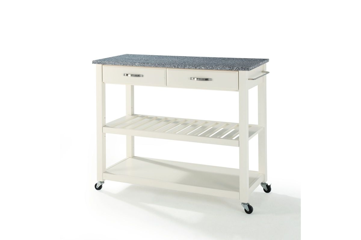 Solid Granite Top Kitchen Cart Island With Optional Stool Storage In White Finish By Crosley