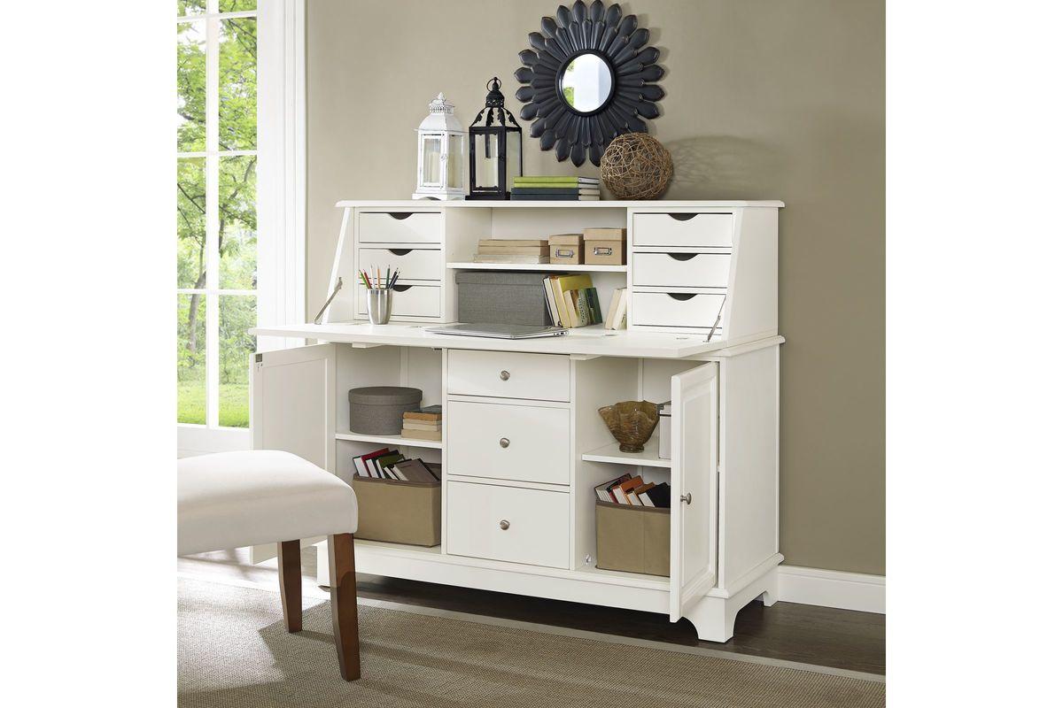 Sullivan Secretary Desk In White Finish By Crosley At