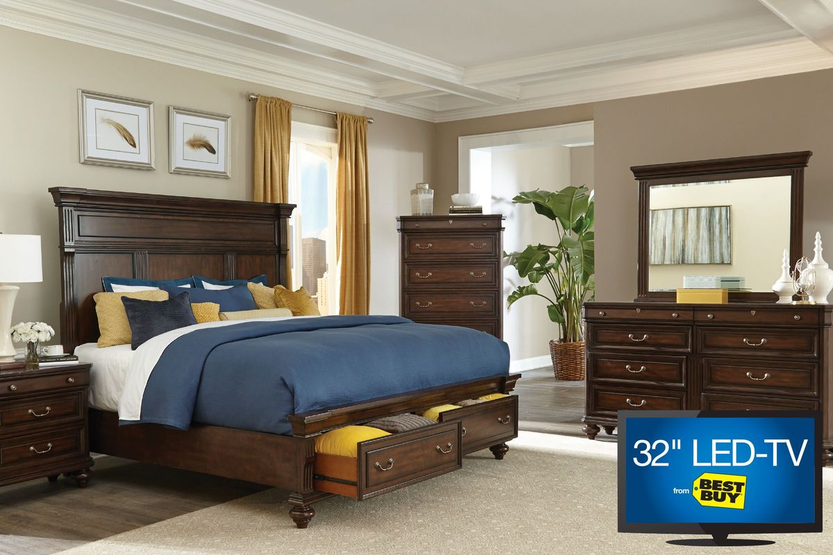 queen bedroom set with 32 led tv from gardner white furniture