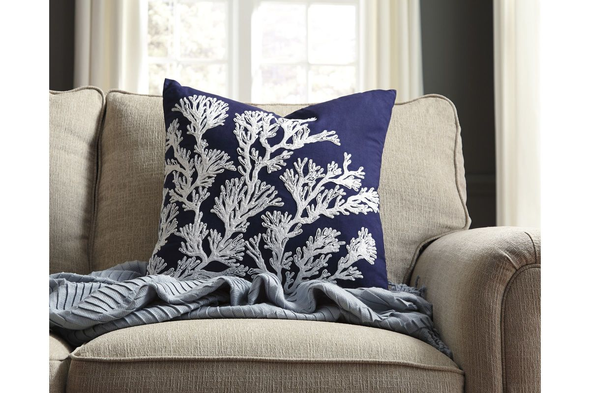 Aguirre Pillow Cover In Navy By Ashley At Gardner White