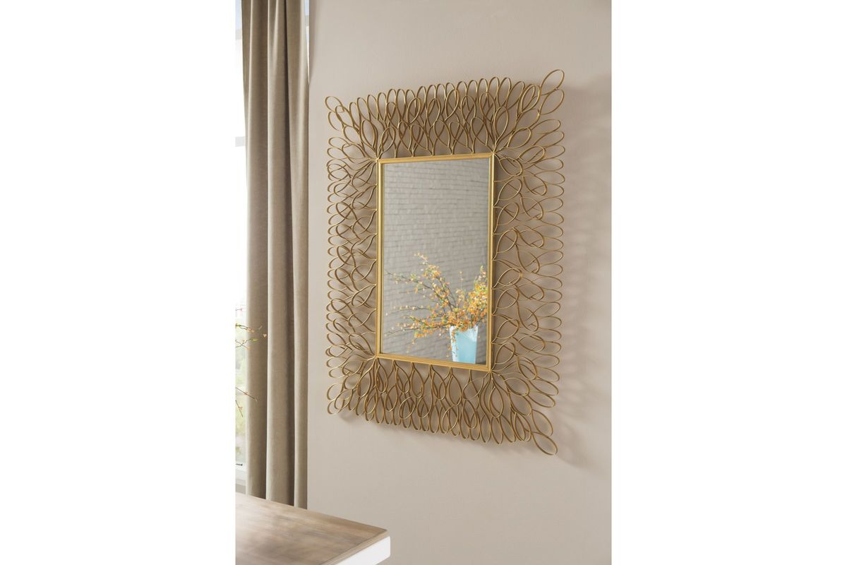 Ogdon Accent Mirror In Antique Gold Finish By Ashley At
