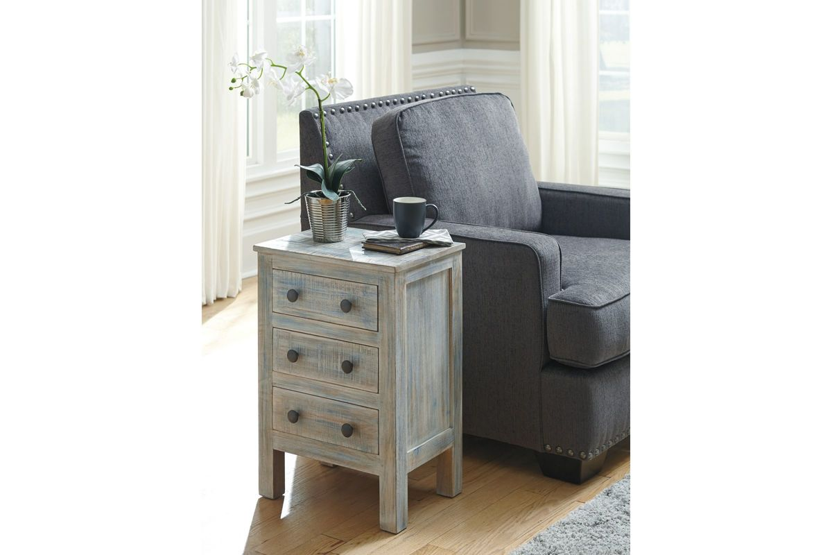 Charlowe three drawer night stand in multi by ashley fdrop for Multi night stand