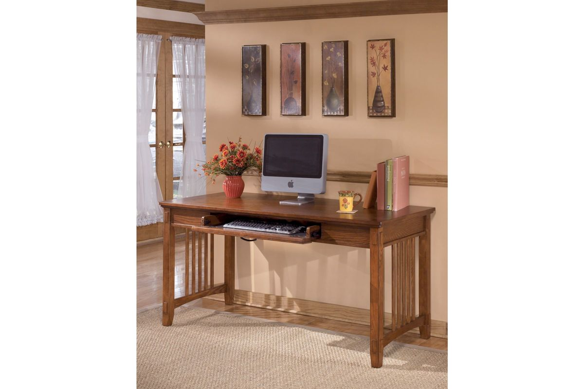 Cross island home office large leg desk in medium brown by ashley - Ashley furniture office desk ...