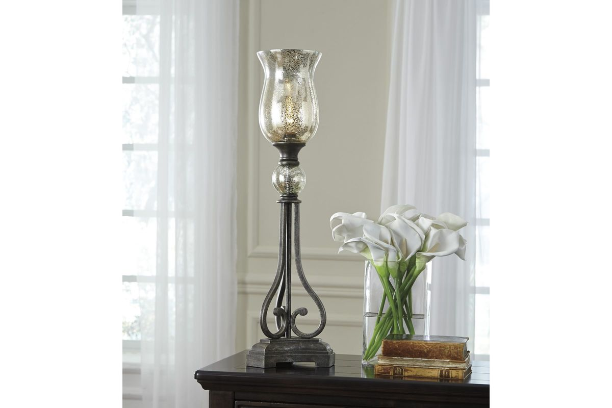 Akeelah metal table lamp in black and silver finish by ashley for Black and silver lamps