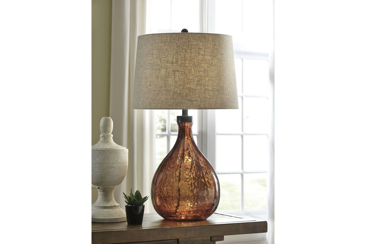 Arayna Glass Table Lamp In Brown By Ashley At Gardner White