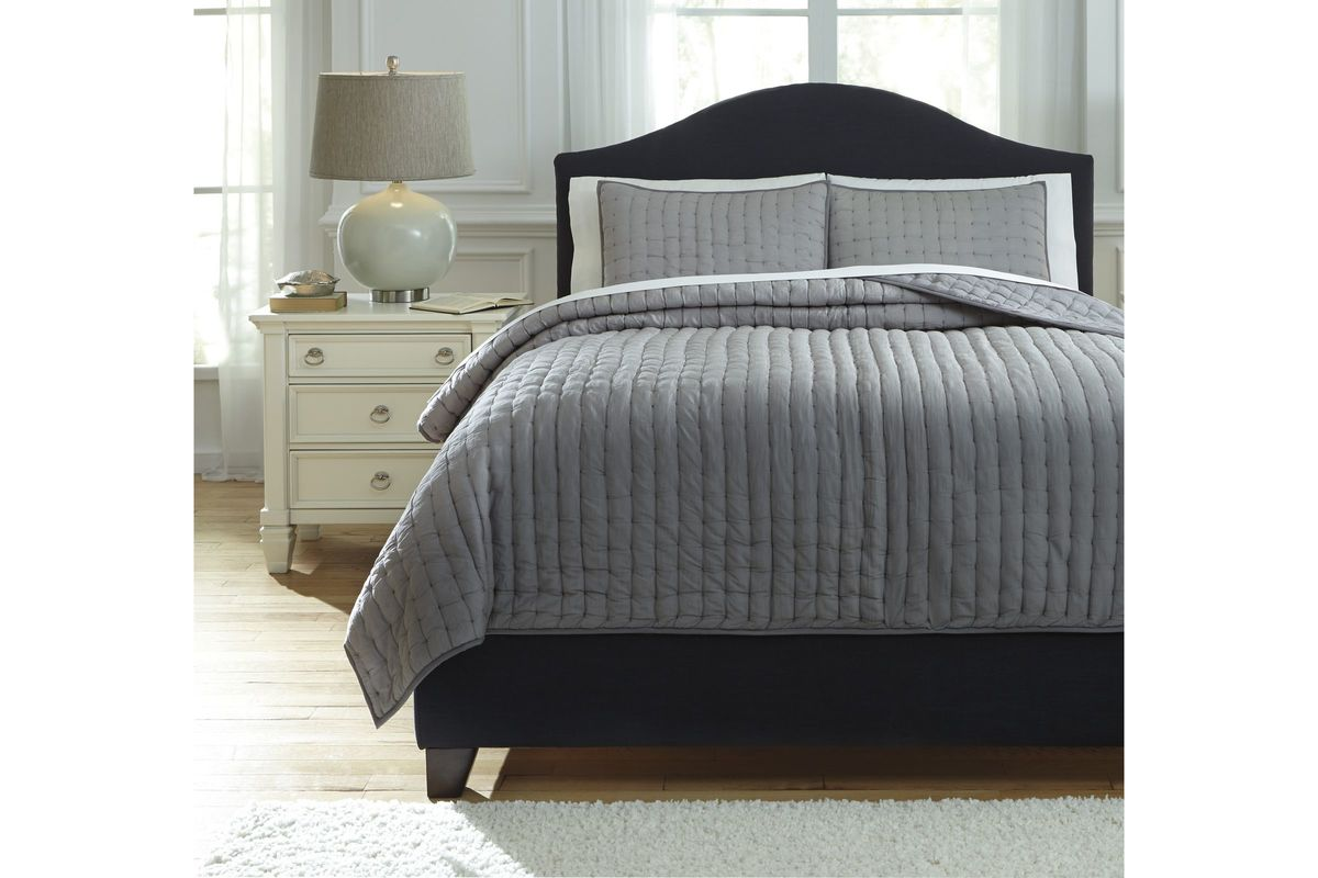 Teague King Comforter Set In Gray By Ashley