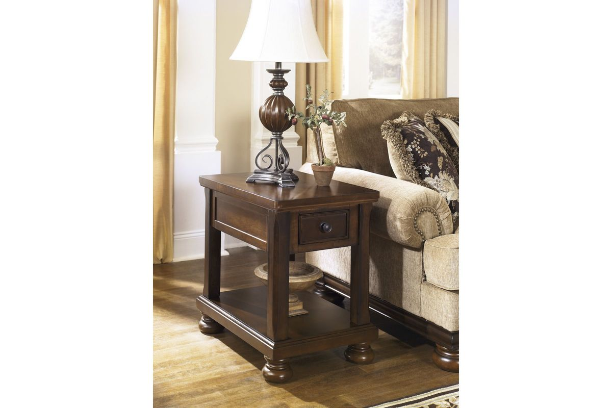 Porter Chair Side End Table In Rustic Brown By Ashley At