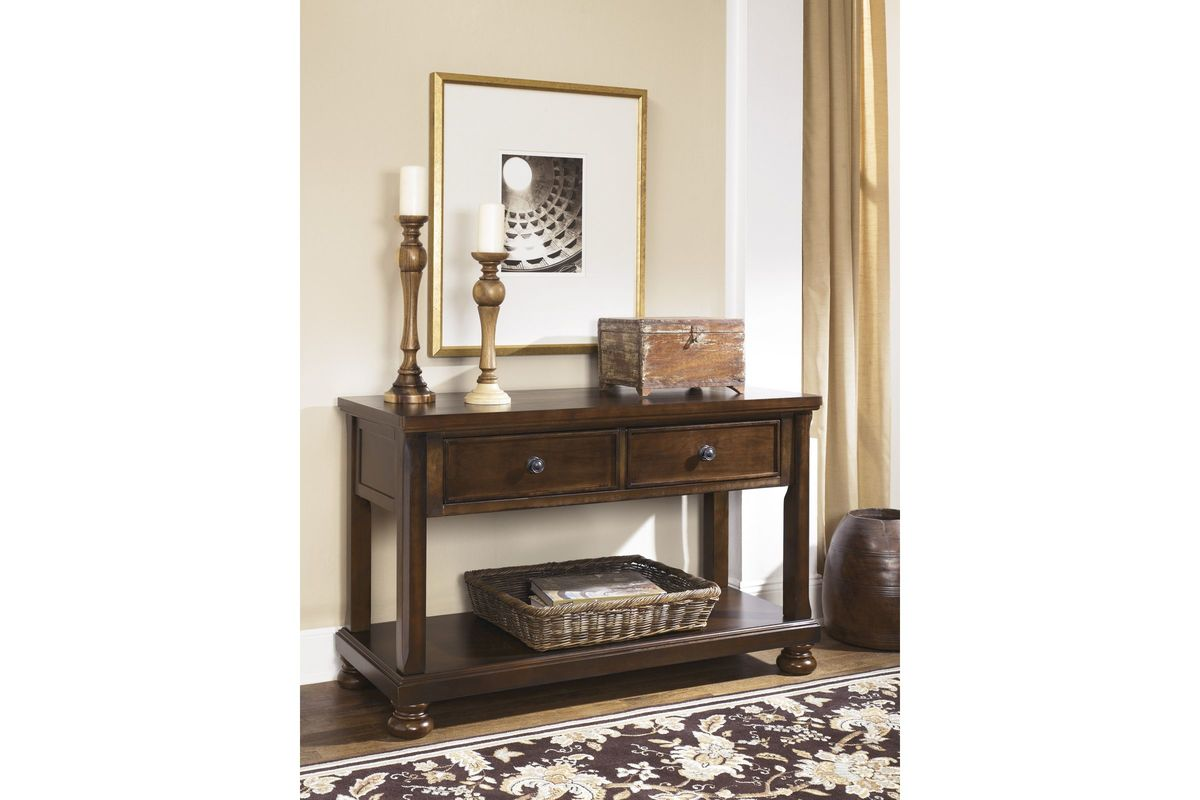 porter console sofa table in rustic brown by ashley