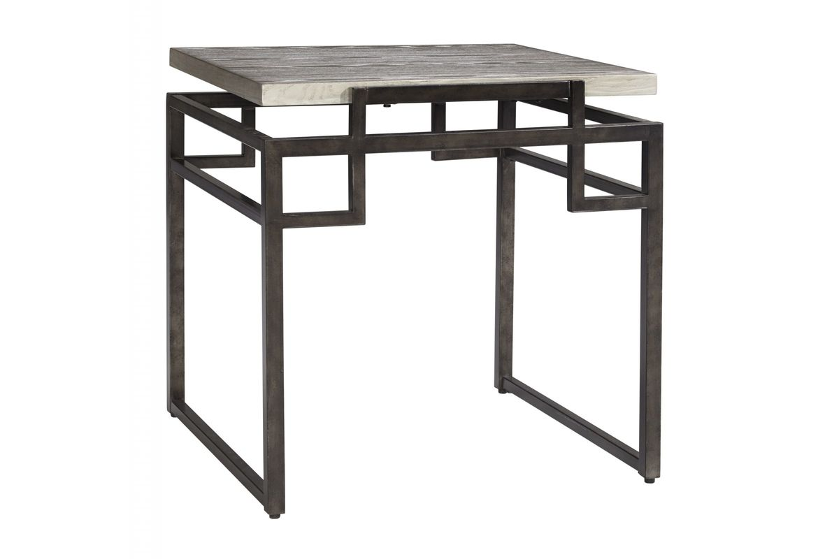 Isman Square End Table In Silver/Black By Ashley*FDROP-170629