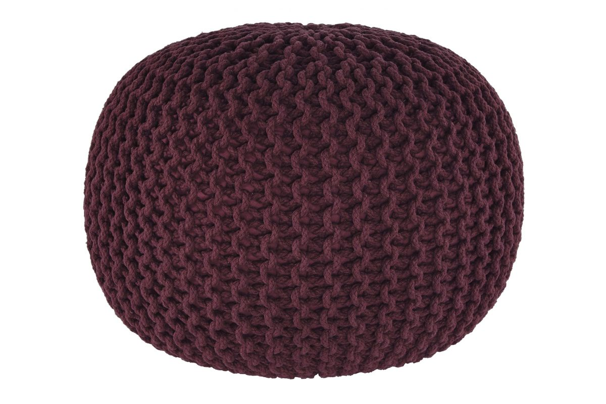 Nils pouf in maroon by ashley - Pouf marron conforama ...