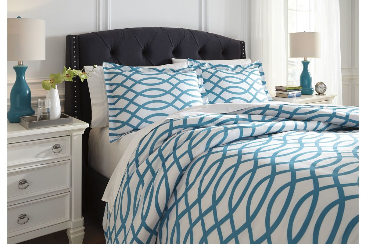 Turquoise Duvet Cover: Leander Queen Duvet Cover Set In Turquoise By Ashley At