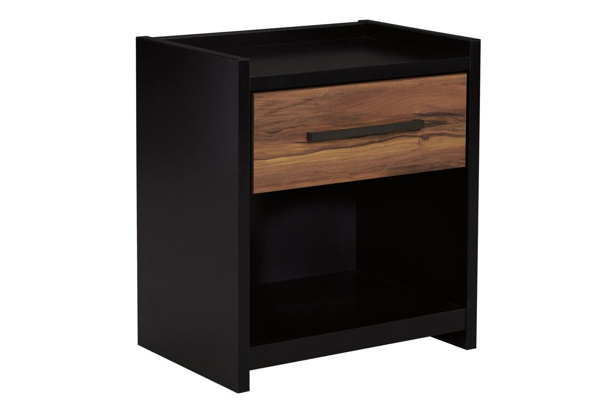 Stavani One Drawer Night Stand In Black And Brown By Ashley