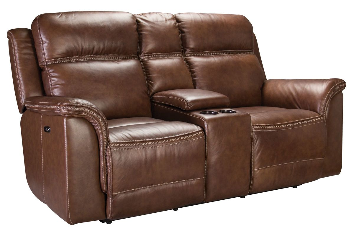 Fargo Leather Power Reclining Loveseat With Console At Gardner White