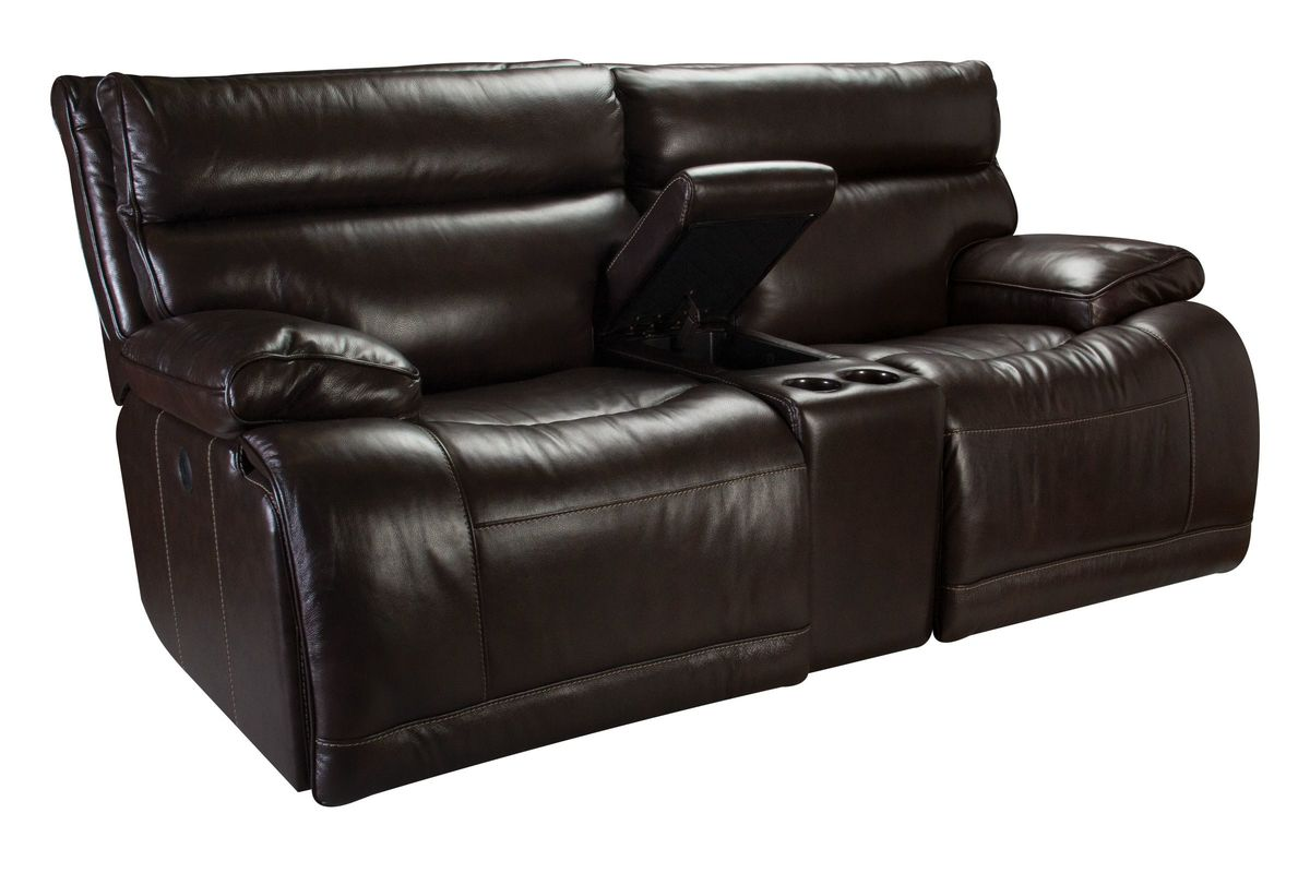 Bowman Leather Power Reclining Loveseat With Console At Gardner White