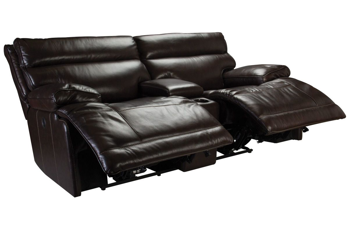 Bowman Leather Power Reclining Loveseat With Console At