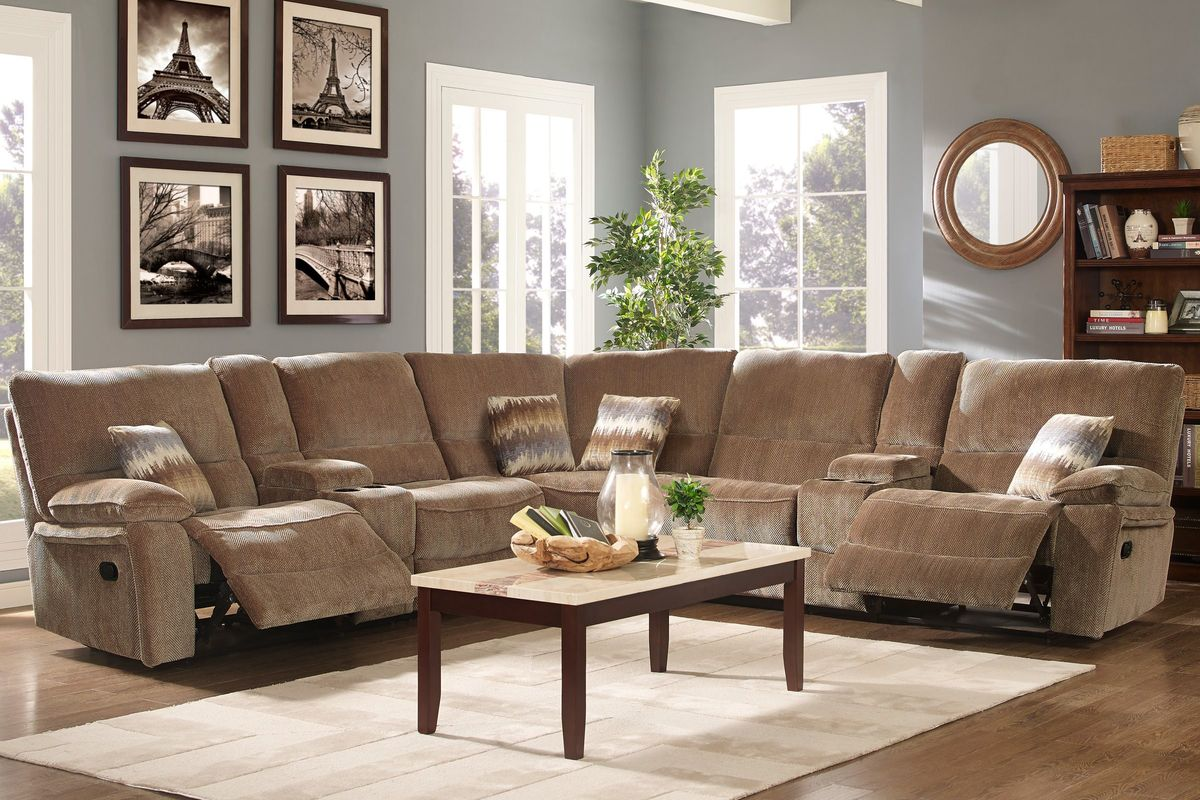 Ranger 7 Piece Chenille Power Reclining Sectional At
