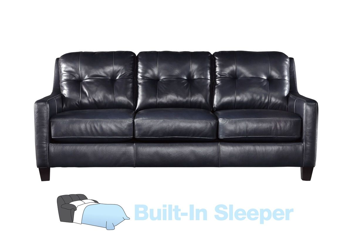 Navin leather queen sleeper sofa for Leather sleeper sofa