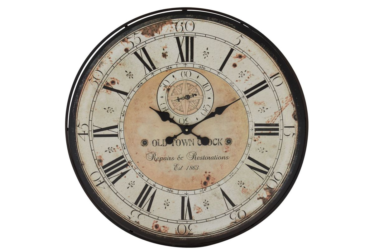 Rustic Distressed Round Wall Clock At Gardner White