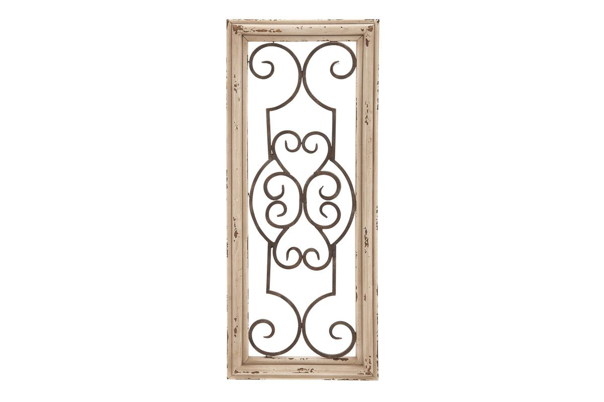 Wrought Iron Wall Panels: Farmhouse Rustic Wrought Iron Scrollwork Wall Panel In Tan