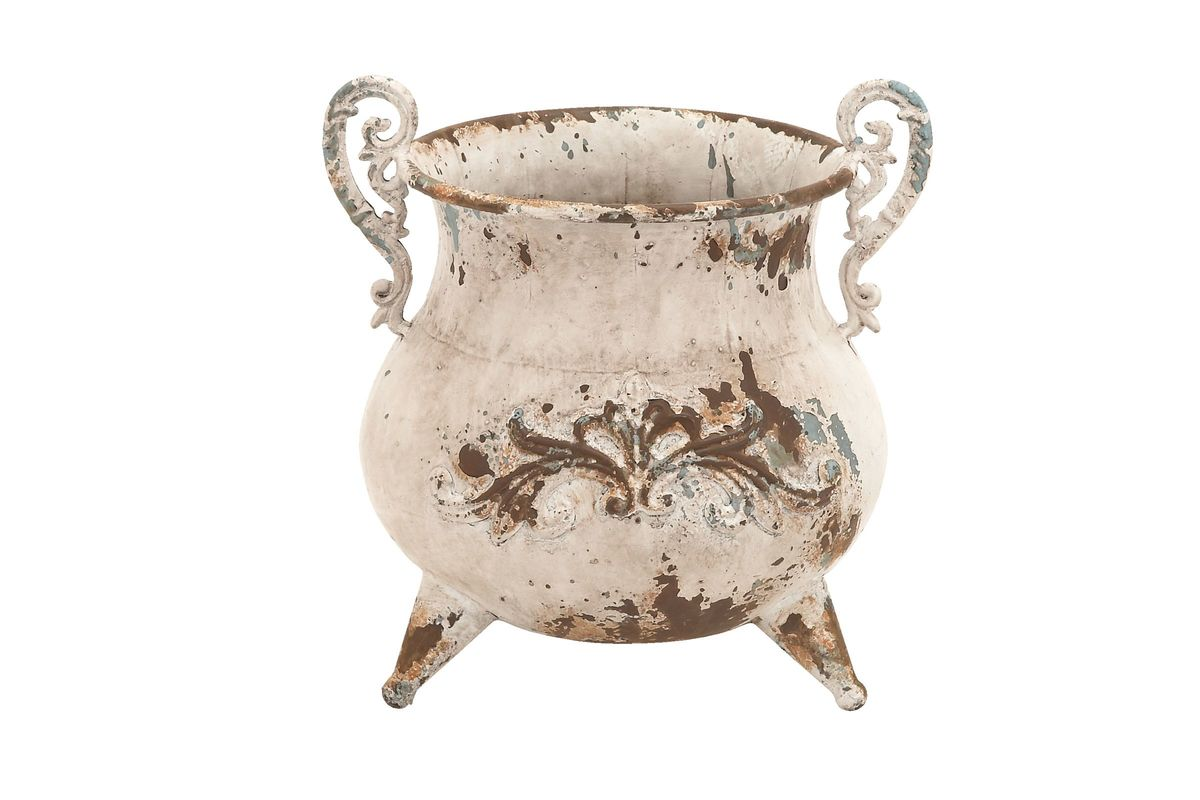 French Country Inspired Iron Footed Urn Planter In