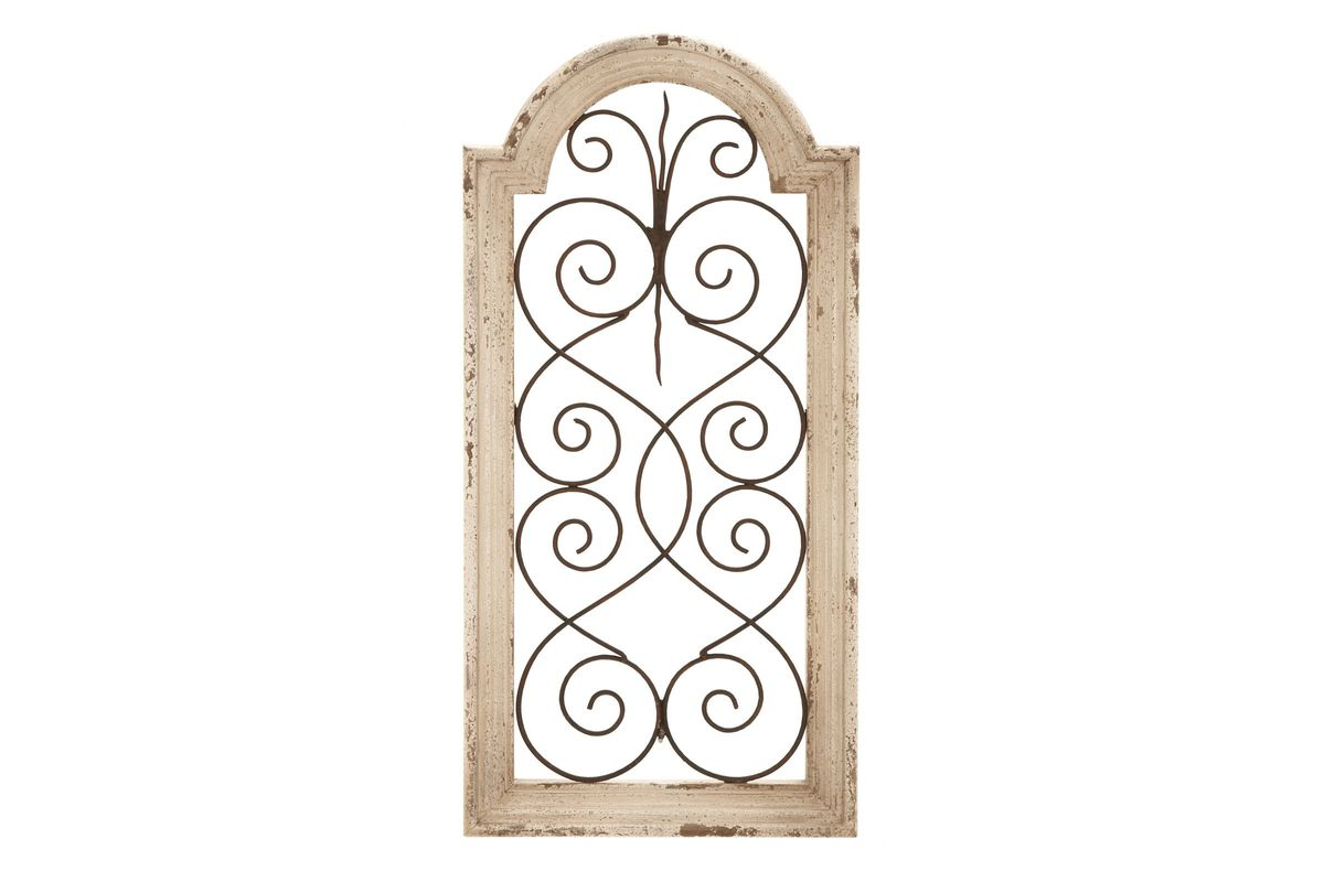 Wrought Iron Wall Panels: Rustic Arched Wrought Iron Scrollwork Wall Panel In Ivory