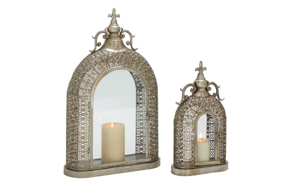 Vintage Industrial Ornate Lattice Candle Lanterns Set Of