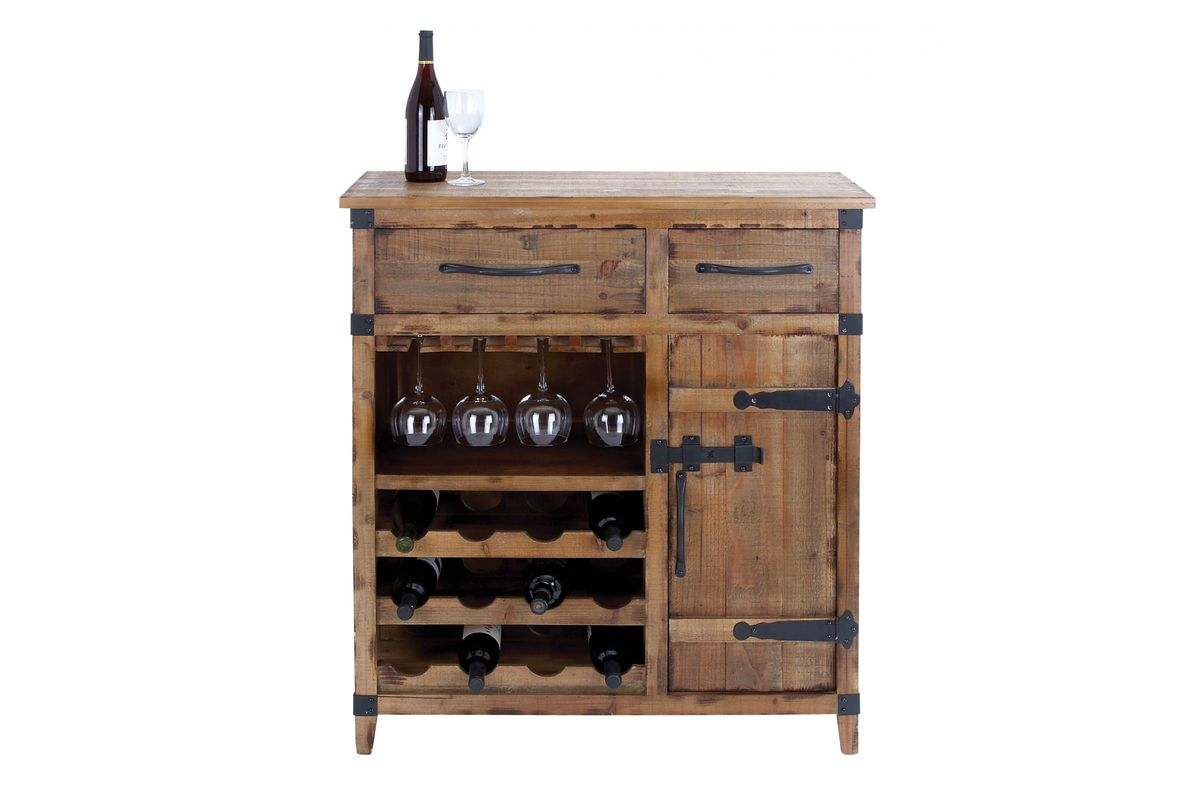 Rustic distressed wood wine storage cabinet in wheat oak