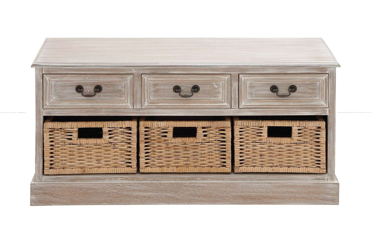 Updated Traditional 3 Wicker Basket Wood Low Cabinet In