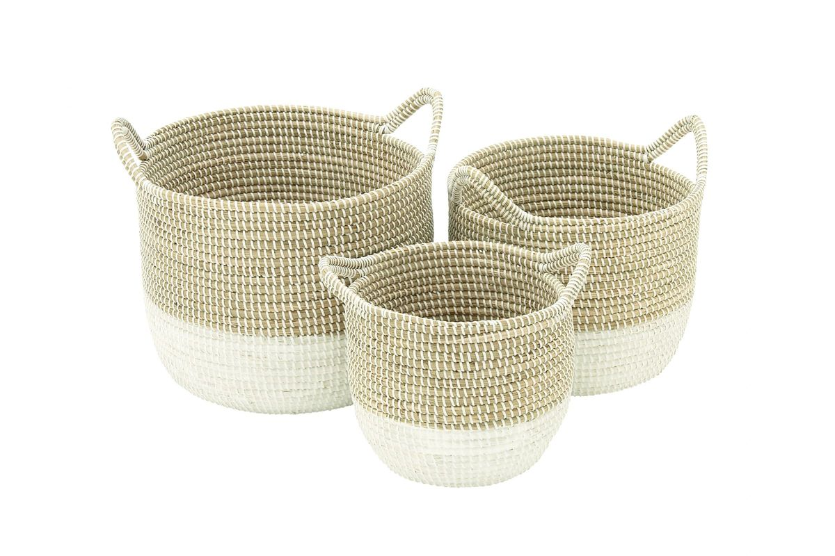 Coastal Living Round Seagrass Baskets With White Bases