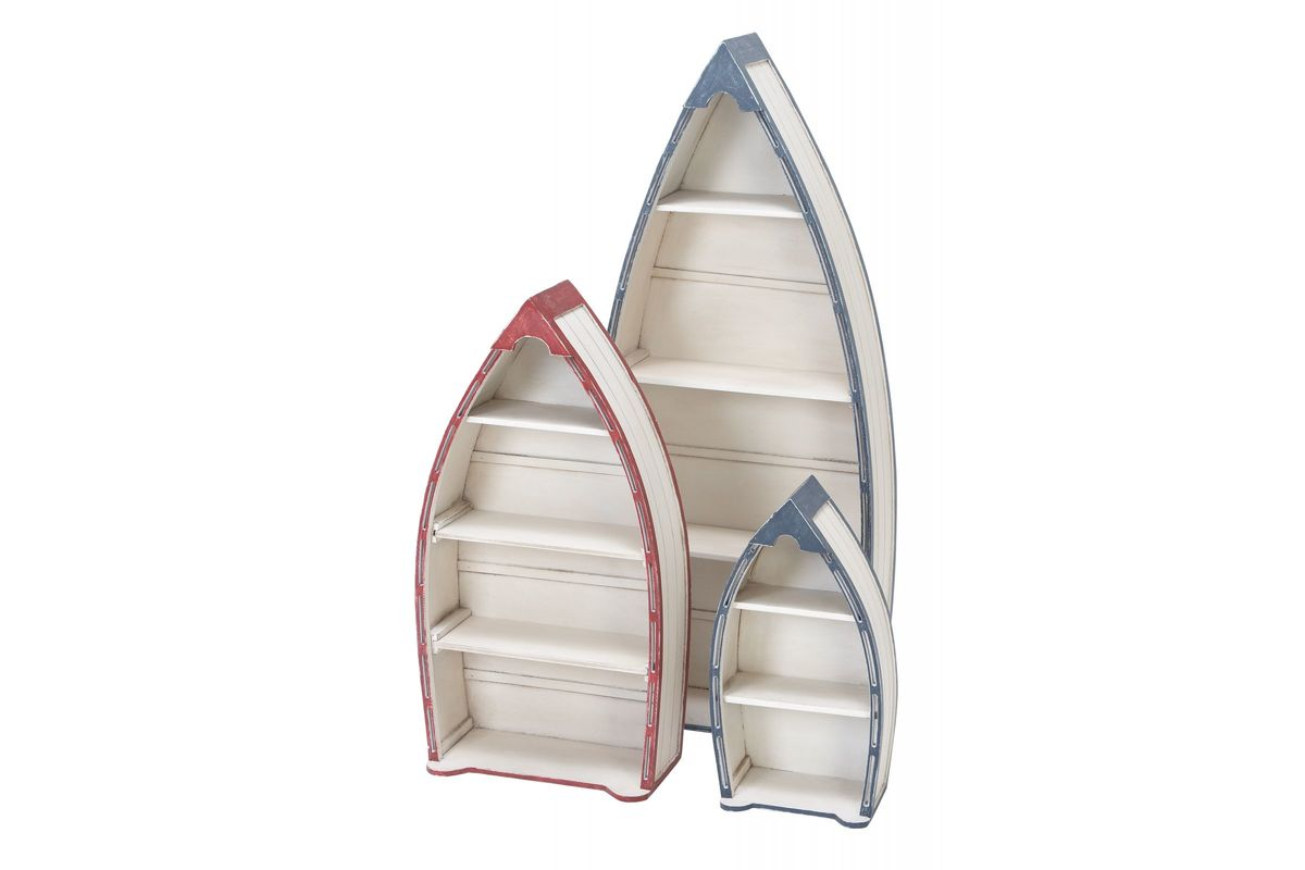 Nautical rustic boat shelves set of 3 by uma at gardner for Home decor 80121