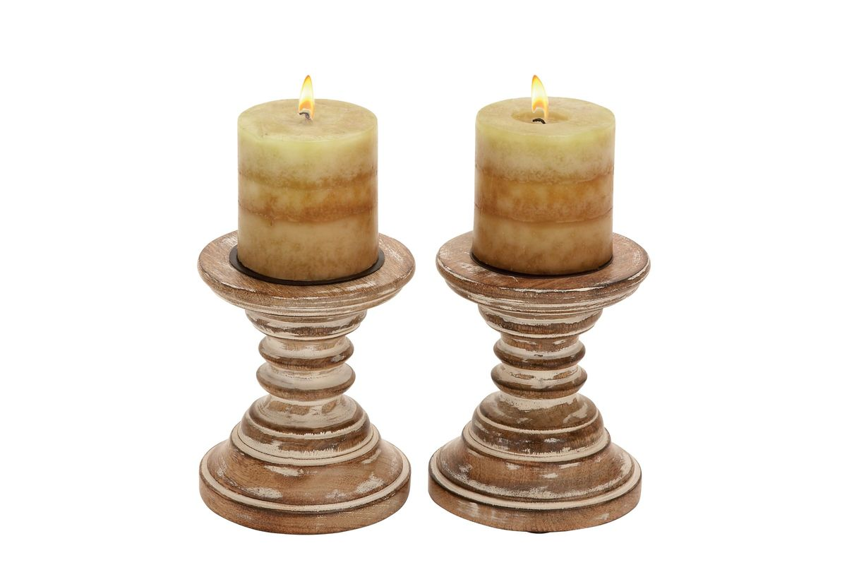 Rustic Elegance Oak Finish Mango Wood Turned Candle