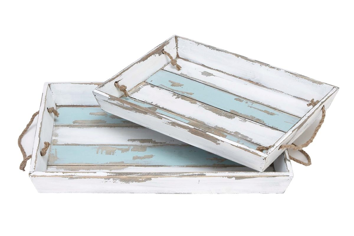 Coastal Living Wood Striped Serving Trays In Distressed