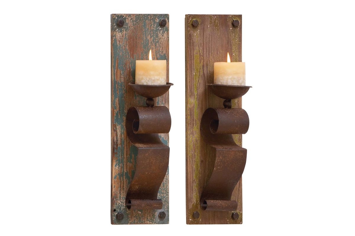 Rustic Wall Sconce Candle Holder : Rustic Rust Brown Finish Wall Sconce Candle Holders (Set of 2) by UMA