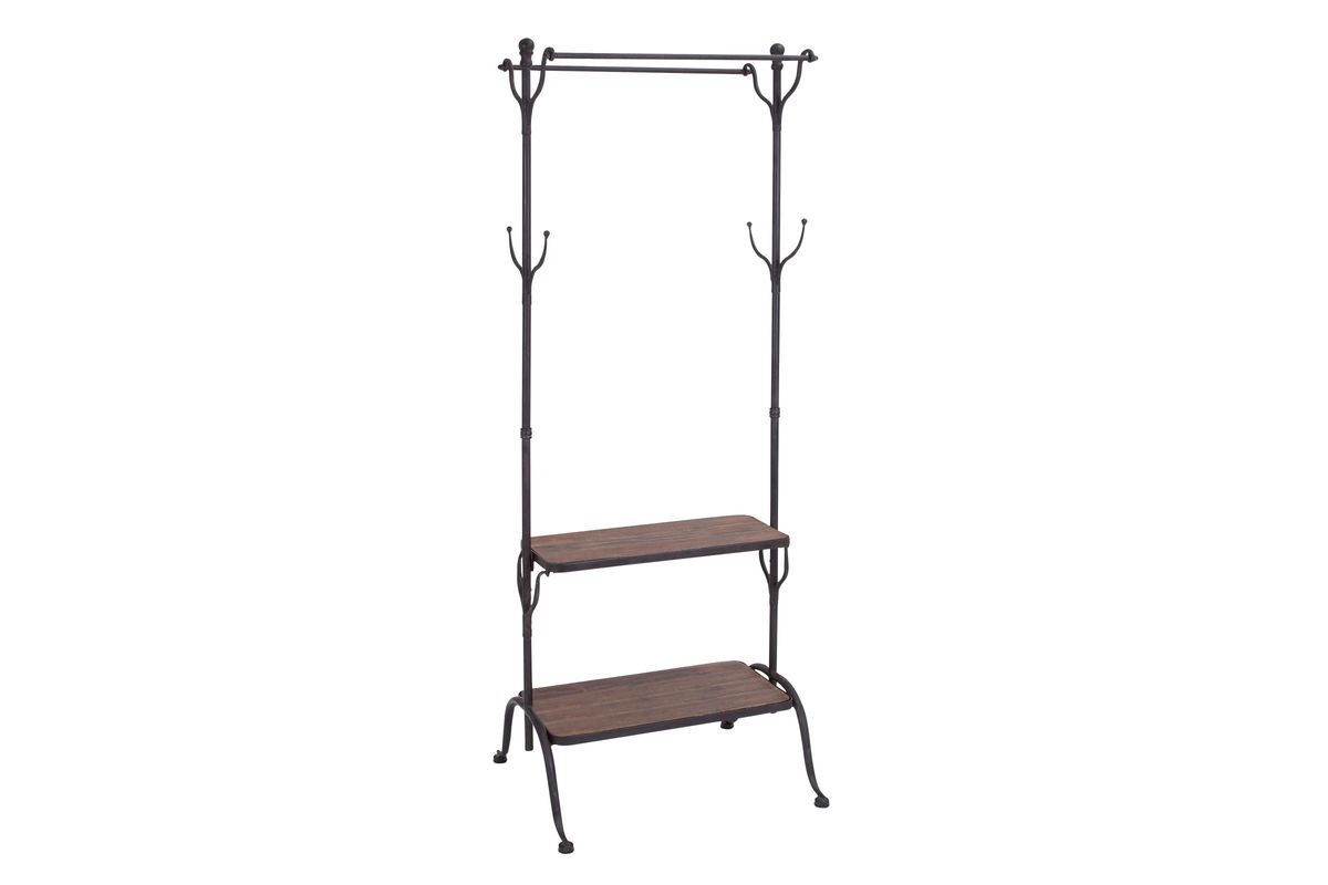 rustic iron free standing coat rack and shelves by uma. Black Bedroom Furniture Sets. Home Design Ideas