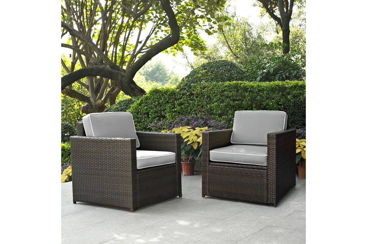 Palm Harbor Wicker Chairs In Grey Set Of 2 By Crosley