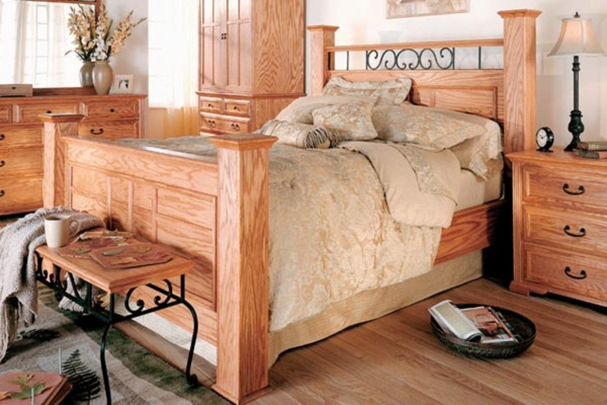 Queen Size Oak Poster Bed At Gardner White