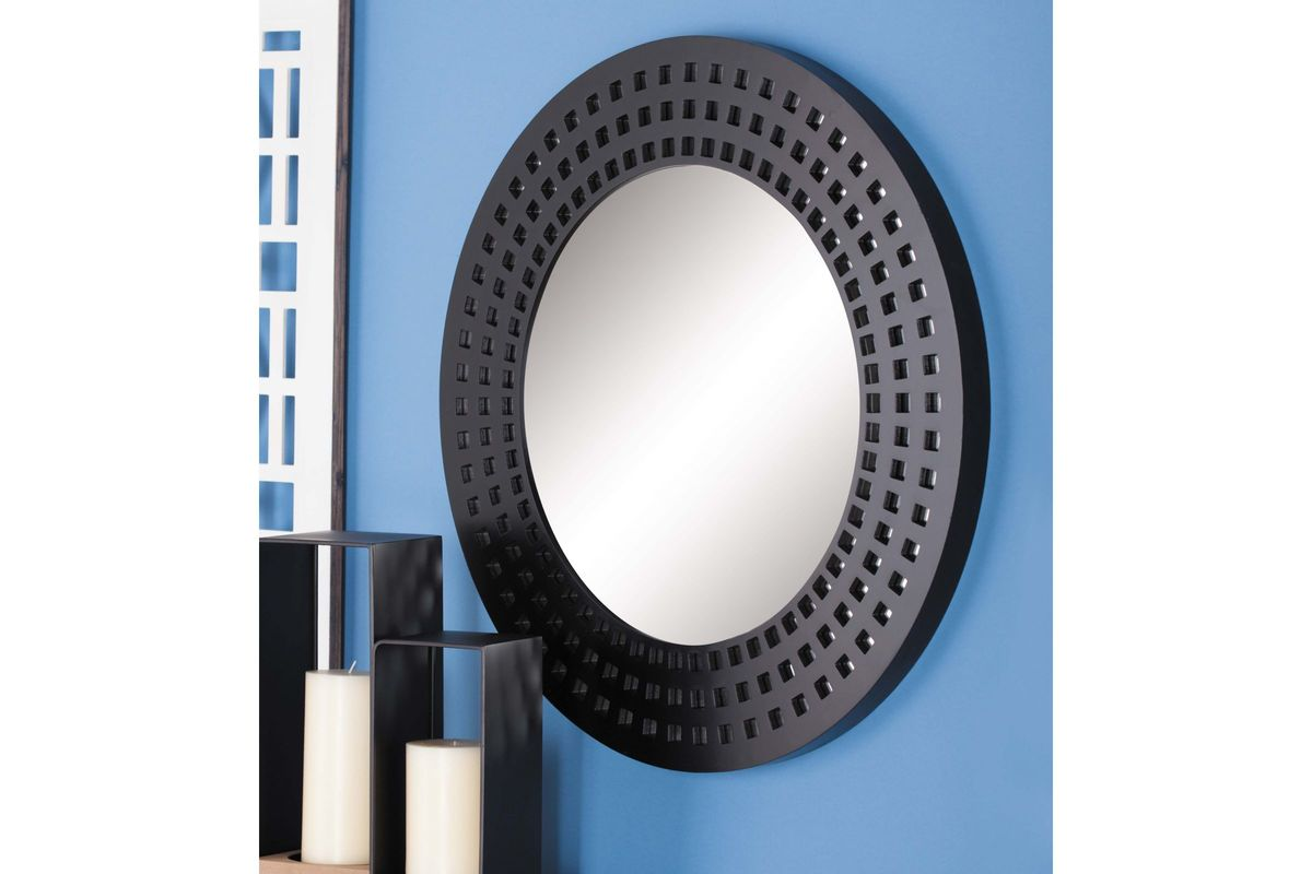 Modern reflections 31 round wall mirror in matte black by uma Modern round mirror