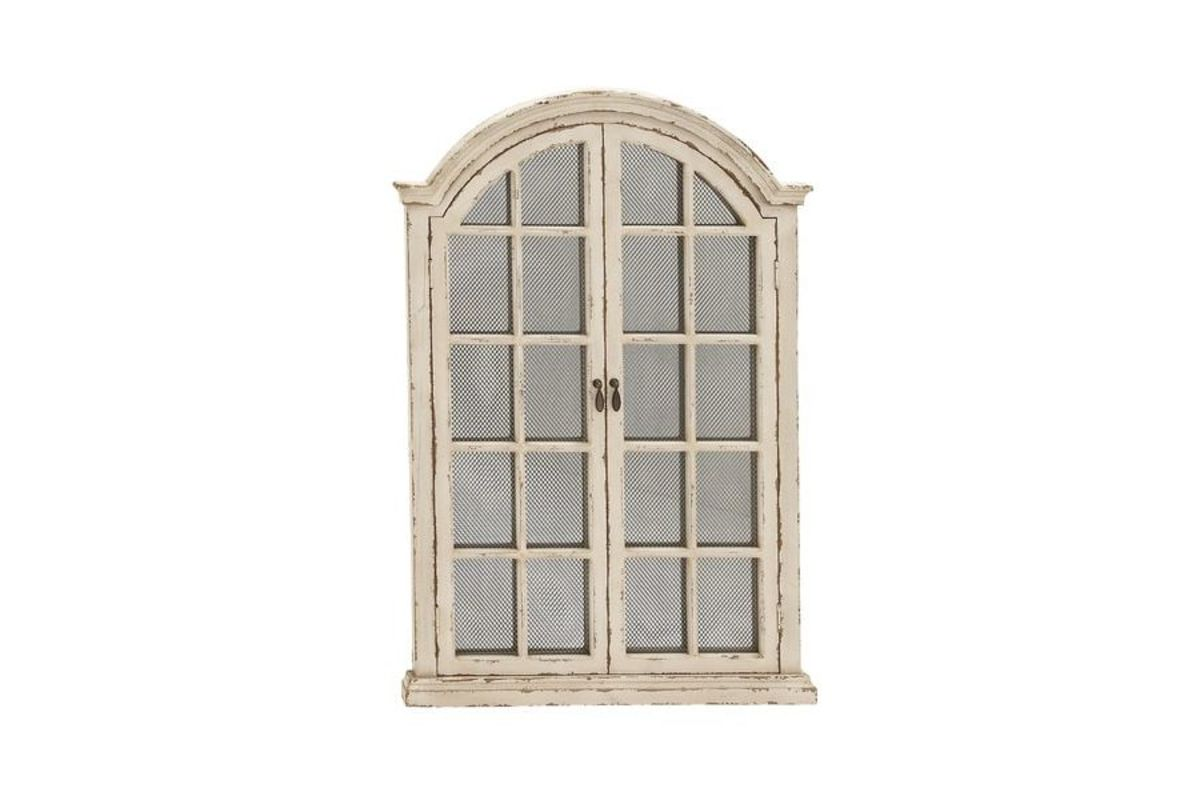 Rustic distressed arched cabinet windowpane style wall for Antique style wall mirror